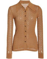 Dodo Bar Or Meryl Pointelle-knit Top - Brown