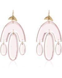 Ten Thousand Things Hand Cut Rose Quartz Small Chandelier Earring - Pink