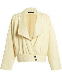 Zeynep Arcay Bat Wing Leather Jacket - Yellow