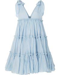 Innika Choo Frilled Ramie Mini Dress - Blue