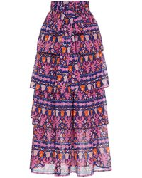 brand: Banjanan Florence Ruffled Cotton Skirt - Blue