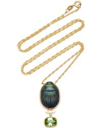 Lito Scarab 14k Yellow-gold Labradorite Pendant Necklace - Green