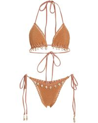 Zimmermann Cassia Crochet-knit Bikini - Brown