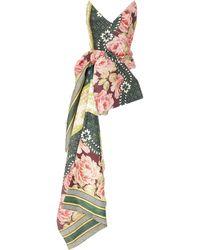 Oscar de la Renta Strapless Asymmetric Floral-print Silk-blend Top - Multicolor