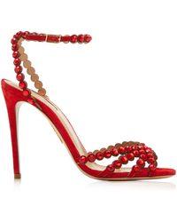 Aquazzura Tequila 105 Crystal-embellished Suede Sandals - Red