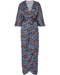 Liberty Dina Galethea Printed Silk Wrap Dress - Blue