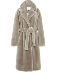 Tibi Oversized Belted Faux Shearling Coat - Gray