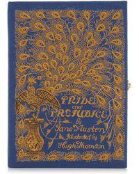 Olympia Le-Tan Pride And Prejudice Strapped Box Book Crossbody Bag - Blue