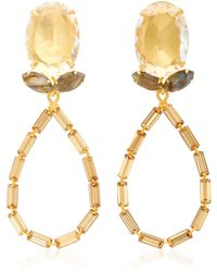 Bounkit - Quartz, Labradorite, And Baguette Teardrop 14k Gold-plated Brass Earrings - Lyst