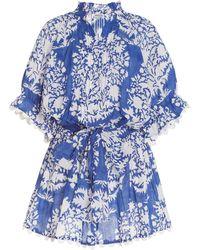 Juliet Dunn Scallop-trimmed Palladio-print Cotton Mini Shirt Dress - Blue