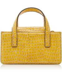 Marge Sherwood Mini Square Croc-embossed Leather Top-handle Bag - Yellow
