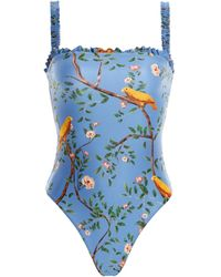 Agua by Agua Bendita Limón Printed One-piece Swimsuit - Blue