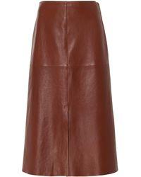 JOSEPH Sidena Lambskin Knee-length Skirt - Brown