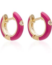 EF Collection 14k Gold And Diamond Berry Enamel Huggie Earrings - Purple