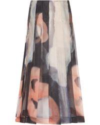 Marina Moscone - Pleated Printed Midi Skirt - Lyst