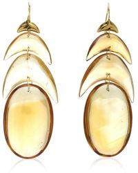 Ten Thousand Things Hand Cut Natural Citrine Peacock Feather Earring - Metallic