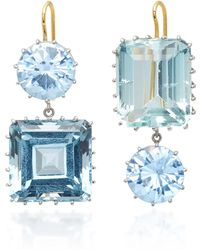 Renee Lewis - 18k White Gold, Synthetic Sapphire And Aquamarine Earrings - Lyst