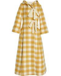 Brock Collection Ratlan Plaid Wool Coat - Yellow