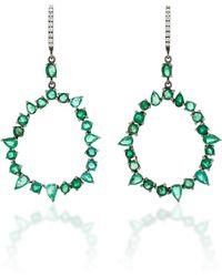 Nina Runsdorf M'o Exclusive One-of-a-kind Emerald And Diamond Jagged Edge Earring - Green