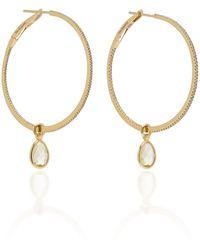 Nina Runsdorf Flip 18k Gold, Citrine And Diamond Hoop Earrings - Metallic