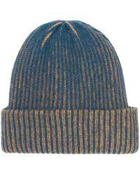 The Elder Statesman Stripe Watchman Cashmere Beanie - Blue
