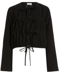Deveaux Mathilde Tie-accented Crepe Top - Black