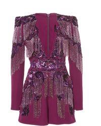 Zuhair Murad Fringe Embroidered Tulle V-neck Jumpsuit - Purple