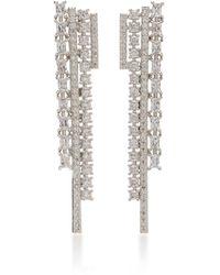 Fallon Rhodium And Crystal Drop Earrings - Metallic