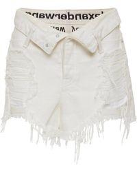 Alexander Wang Runway Bite Distressed Denim Shorts - White