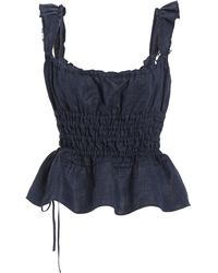 Brock Collection Silvia Ruched Linen-blend Chambray Top - Blue