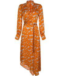 MYKKE HOFMANN Kataline Printed Crepe Belted Midi Wrap Dress - Orange