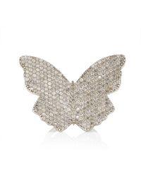 Sheryl Lowe Large Butterfly Sterling Silver Diamond Ring - Metallic