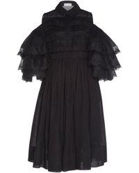 Dice Kayek Ruffle Sleeve Silk Dress - Black