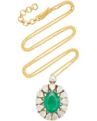 Amrapali Heirloom 18k Yellow Gold Emerald, Diamond Necklace - Green