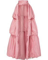 Marchesa Tiered Silk Taffeta Overskirt - Pink