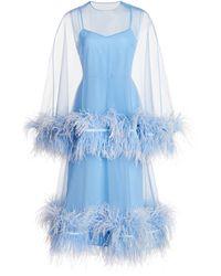 Huishan Zhang Coco Feathered Organza Dress - Blue