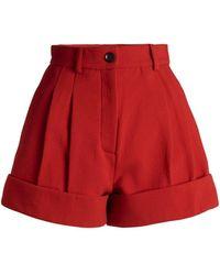 Unttld Cardinal Double-crepe Virgin Wool Mini Shorts - Red