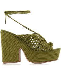 Jacquemus Crochet Platform Sandals - Green