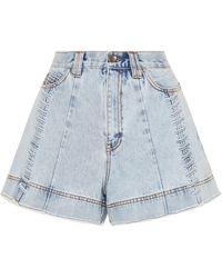 Aje. Porter Lace-up Acid-wash Denim Shorts - Blue