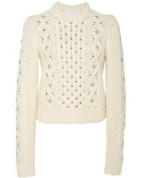 Michael Kors Embellished Cable-knit Cashmere Sweater - White