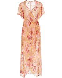 Anna Sui Lotus Pod Burnout Dress - Red