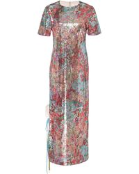 Prabal Gurung Floral Sequin Midi Dress - Metallic