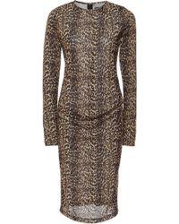 Christian Siriano - Cheetah Mesh Long Sleeve Side Drape Dress - Lyst