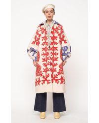 Sea Henrietta Longline Quilted Cotton Coat - Red