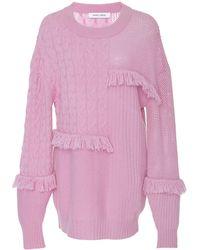 Prabal Gurung - Oversize Cashmere Fringe Sweater - Lyst