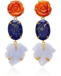 Bounkit - 14k Gold-plated Brass, Carved Red Oyster Shell, Lapis, Blue Lace Agate Earrings - Lyst