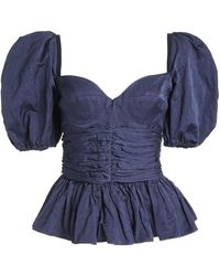 Brock Collection Reserve Puffed-sleeve Cotton-blend Peplum Top - Blue