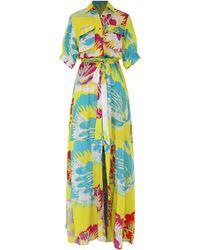All Things Mochi Prisha Printed Satin Maxi Dress - Yellow