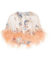 Marchesa - Ostrich Feather Embellished Tulle Grid Capelet - Lyst