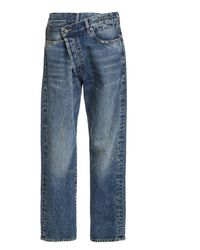 R13 Crossover Distressed Low-rise Wide-leg Jeans - Blue